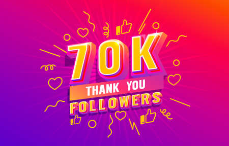 Thank you 70k followers, peoples online social group, happy banner celebrate, Vector