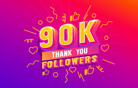 Thank you 90k followers, peoples online social group, happy banner celebrate, Vector