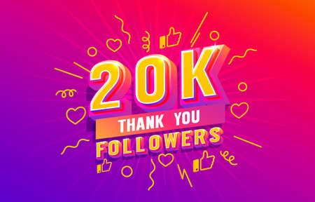Thank you 20k followers, peoples online social group, happy banner celebrate, Vector