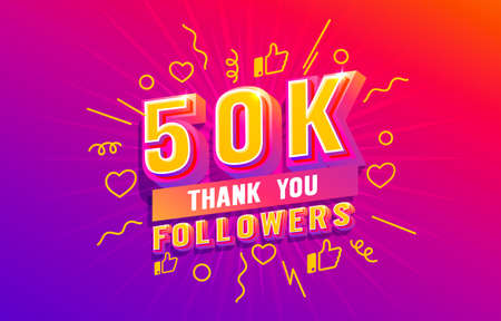 Thank you 50k followers, peoples online social group, happy banner celebrate, Vector