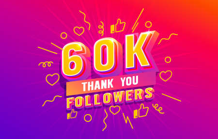 Thank you 60k followers, peoples online social group, happy banner celebrate, Vector  イラスト・ベクター素材