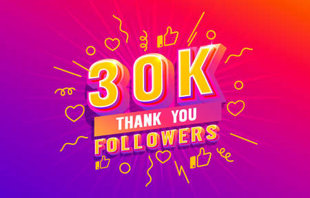 Thank you 30k followers, peoples online social group, happy banner celebrate, Vector