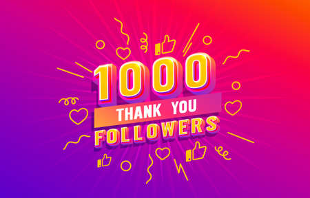 Thank you 1000 followers, peoples online social group, happy banner celebrate, Vector