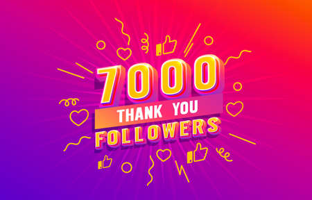Thank you 7000 followers, peoples online social group, happy banner celebrate, Vector  イラスト・ベクター素材
