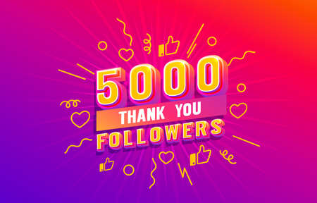 Thank you 5000 followers, peoples online social group, happy banner celebrate, Vector