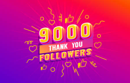 Thank you 9000 followers, peoples online social group, happy banner celebrate, Vector