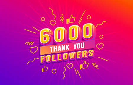 Thank you 6000 followers, peoples online social group, happy banner celebrate, Vector