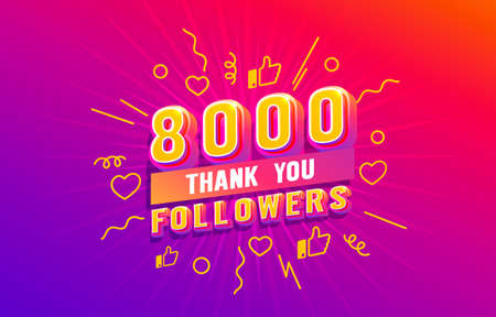 Thank you 8000 followers, peoples online social group, happy banner celebrate, Vector  イラスト・ベクター素材