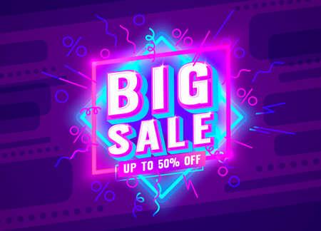 Big sale banner label, event promotion poster. Vector