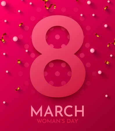 Happy Womens Day greeting card. 8 March modern background design with golden confetti.