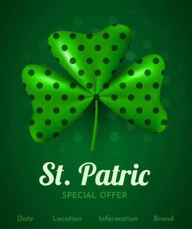 3d clover leaf. Happy St. Patrick day. Special offer banner.