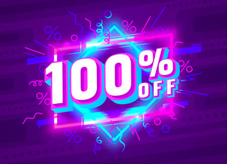 Cyber 100 off sale banner, light neon flyer, retro label. Vector  イラスト・ベクター素材