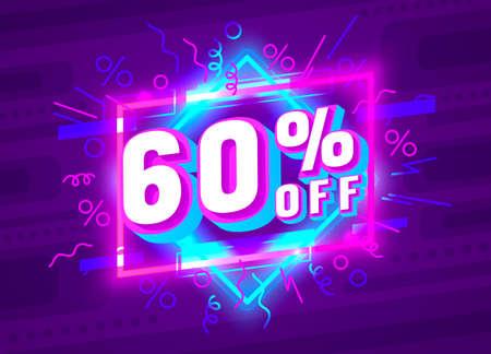 Cyber 60 off sale banner, light neon flyer, retro label. Vector  イラスト・ベクター素材
