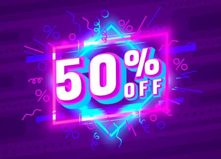Cyber 50 off sale banner, light neon flyer, retro label. Vector