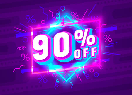 Cyber 90 off sale banner, light neon flyer, retro label. Vector  イラスト・ベクター素材