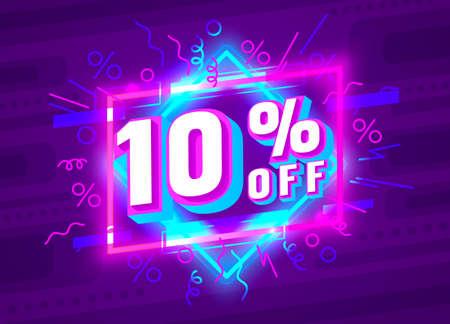 Cyber 10 off sale banner, light neon flyer, retro label. Vector