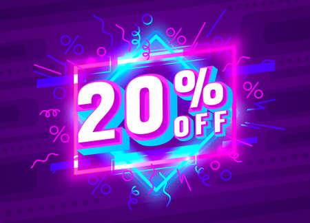 Cyber 20 off sale banner, light neon flyer, retro label. Vector