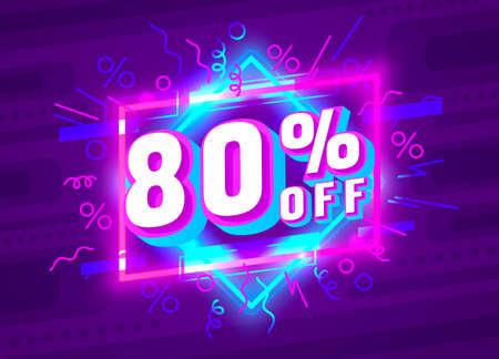Cyber 80 off sale banner, light neon flyer, retro label. Vector