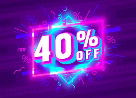 Cyber 400 off sale banner, light neon flyer, retro label. Vector