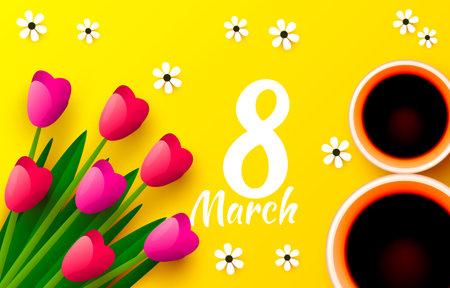 International women day 8 March, cover banner design. Vector  イラスト・ベクター素材