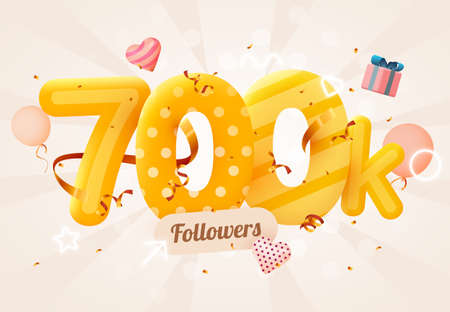 700k or 700000 followers thank you Pink heart, golden confetti and neon signs. Social Network friends, followers, Web user Thank you celebrate of subscribers or followers and likes.