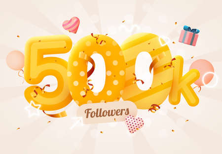 500k or 500000 followers thank you Pink heart, golden confetti and neon signs. Social Network friends, followers, Web user Thank you celebrate of subscribers or followers and likes.