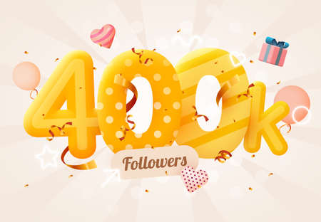400k or 400000 followers thank you Pink heart, golden confetti and neon signs. Social Network friends, followers, Web user Thank you celebrate of subscribers or followers and likes.