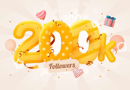 200k or 200000 followers thank you Pink heart, golden confetti and neon signs. Social Network friends, followers, Web user Thank you celebrate of subscribers or followers and likes.  イラスト・ベクター素材