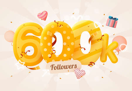 600k or 600000 followers thank you Pink heart, golden confetti and neon signs. Social Network friends, followers, Web user Thank you celebrate of subscribers or followers and likes.