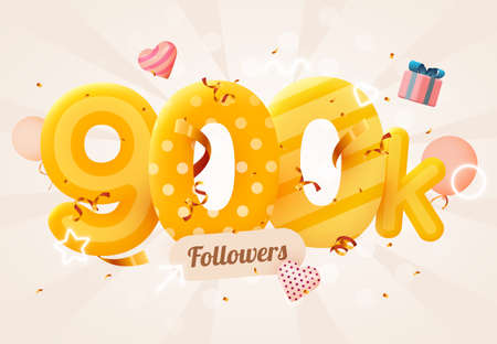 900k or 900000 followers thank you Pink heart, golden confetti and neon signs. Social Network friends, followers, Web user Thank you celebrate of subscribers or followers and likes.
