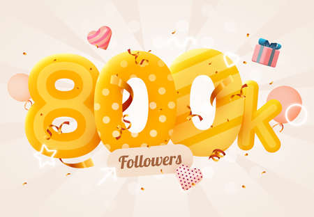 800k or 800000 followers thank you Pink heart, golden confetti and neon signs. Social Network friends, followers, Web user Thank you celebrate of subscribers or followers and likes.