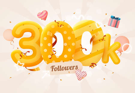 300k or 300000 followers thank you Pink heart, golden confetti and neon signs. Social Network friends, followers, Web user Thank you celebrate of subscribers or followers and likes.