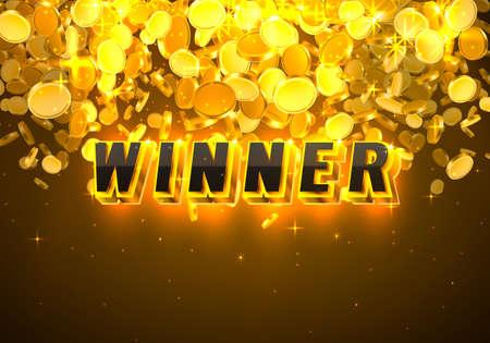 Big Win casino coin, cash machine play now. Vector