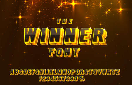 Winner font set collection, letters and numbers symbol. Vector  イラスト・ベクター素材