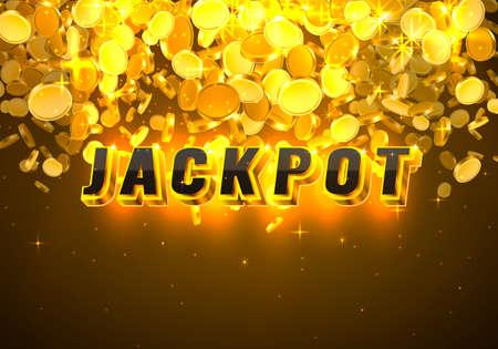 Jackpot casino coin, cash machine play now. Vector
