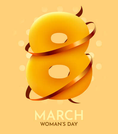 Happy Womens Day greeting card. 8 March modern background design with golden ribbon.