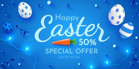 Easter poster and banner template with Easter eggs. Promotion and trading template for Easter.  イラスト・ベクター素材