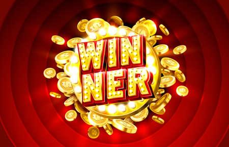 Winner casino coin, cash machine play now. Vector  イラスト・ベクター素材