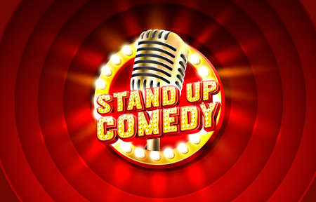Stand up comedy signboard label, concert vocal event. nightclub title. Vector