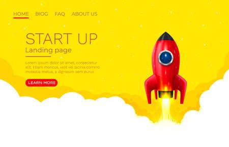 Start up idea Landing page screen, development technology, rocket banner. Vector