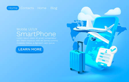 Smartphone airplane app banner concept, place for text, airport online application, luggage mobile service. Vector