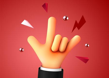 Rock sign. Business success. Human hand. Winner concept. Ilustração