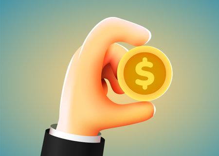 3d cartoon hand holding golden dollar coin. Investment, profit, payment concept.