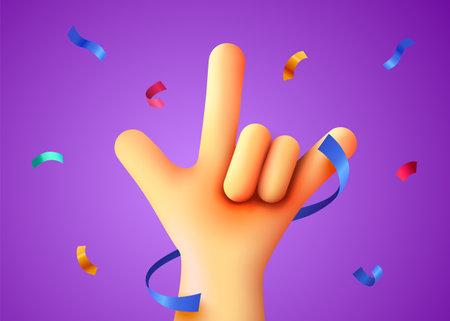 Rock sign with confetti. Party or rock concert background. Winner concept. Ilustração