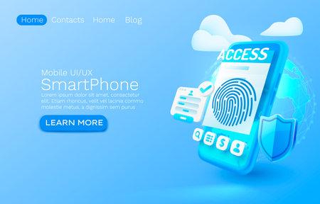 Smartphone Login app banner concept, place for text, access online application, authorization mobile service. Vector Ilustração