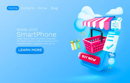 Smartphone shopping app banner concept, place for text, buy online application shop, authorization mobile service. Vector