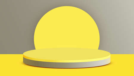 Abstract scene background. Cylinder podium on gray background. Product presentation, mock up, show cosmetic product, Podium, stage pedestal or platform.