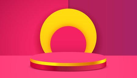 Abstract scene background. Cylinder podium on pink background. Product presentation, mock up, show cosmetic product, Podium, stage pedestal or platform. Ilustração