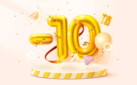 10 Off. Discount creative composition. 3d Golden sale symbol with decorative objects, heart shaped balloons, golden confetti, podium and gift box. Sale banner and poster. Vector Ilustração