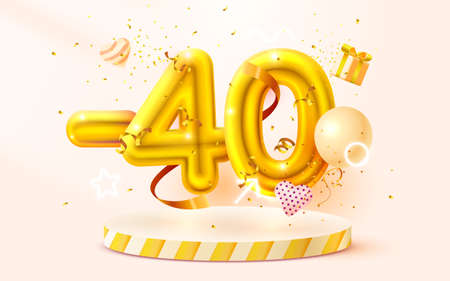 40 Off. Discount creative composition. 3d Golden sale symbol with decorative objects, heart shaped balloons, golden confetti, podium and gift box. Sale banner and poster. Vector Ilustração